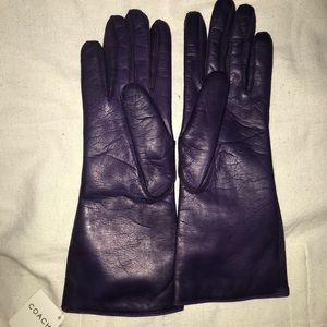 NWT Coach Purple Leather Gloves Size 7.5